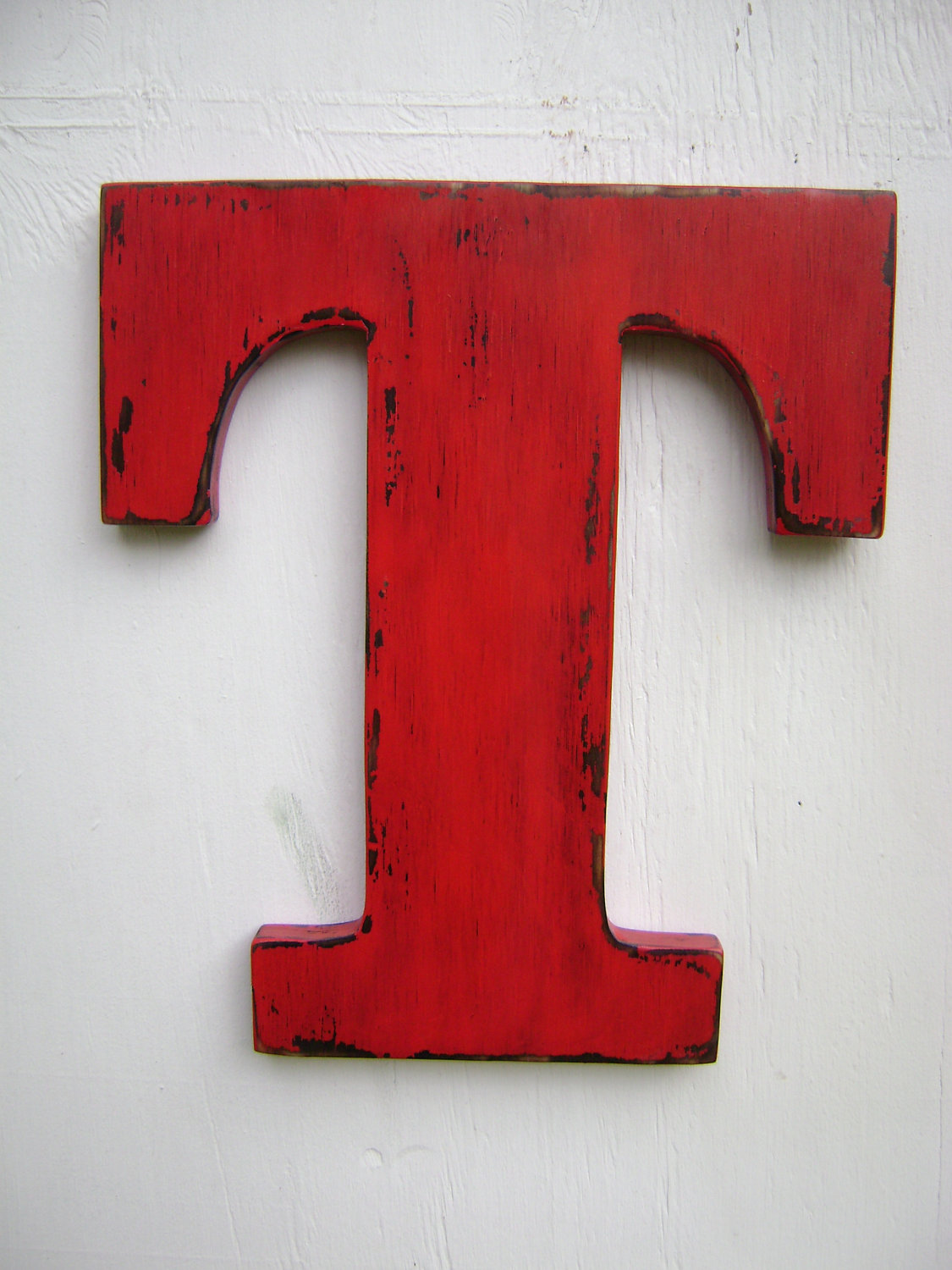 Red Wooden Wall Decor : Wedding decor rustic wall hanging initals letter t